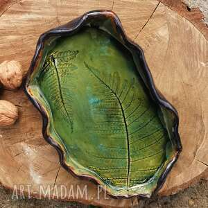 ceramiczny półmisek, paproć c144, paproć, talerz, ceramiczny, półmisek