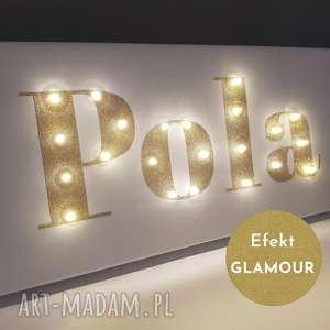 dom obraz led z imieniem brokatowy złoty gold glamour personalizowany prezent