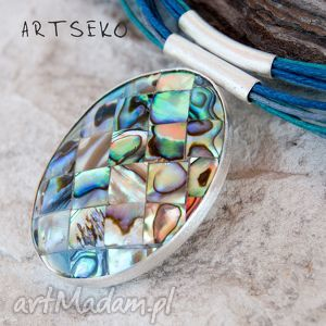 handmade naszyjniki tęczowa paua naszyjnik