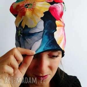 ręcznie robione czapki czapka kolorowe kwiaty