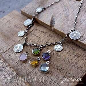 handmade naszyjniki srebro 925 - naszyjnik z monetami w stylu boho - 5 kolorów