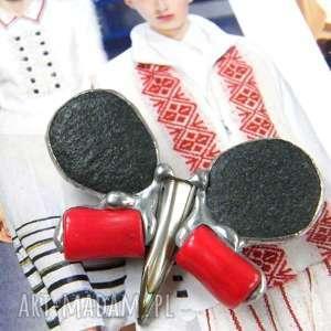 handmade broszki broszka: motyl czarno-czerwony