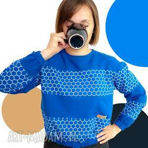 bluzy bluza z długim rękawem chabrowa szósteczka, bluza, na wycieczke, ręczna