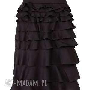 czarna elegancka spódnica z falbankami plus size, elegancka, falbanki