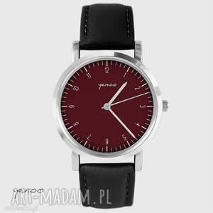 zegarek - simple elegance, bordo skórzany, czarny, unisex, zegarek, skórzany
