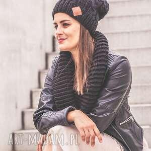 Business Instinct! Elegancki Czarny, jesień, zima, czapka, włóczka