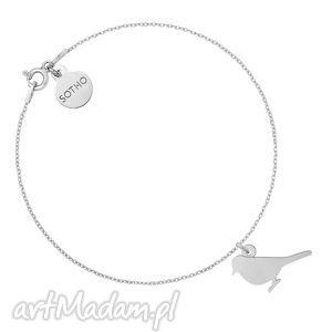 Srebrna bransoletka ze słowikiem - ,bransoletka,słowik,ptak,ptaszek,animals,srebro,