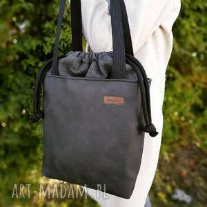 na ramię torba z kominem czerń i grafitowy melanż, torba, codzień