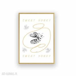 śmieszna grafika z pszczółką, oprawiony obrazek pszczołą, obraz pszczoły