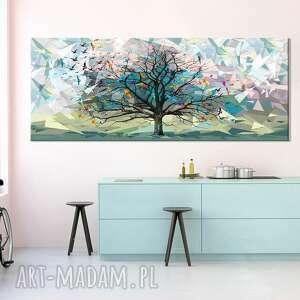 przepiękny pejzaż do salonu i sypialni - drzewo, ptaki origami 150x60cm