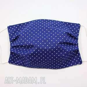maseczki maska bawełniana dwuwarstwowa maseczka ochronna kropki na niebieskim