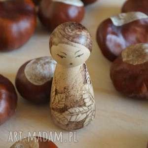 lalki jesienna - ręcznie wypalana drewniana laleczka, jesień, retro
