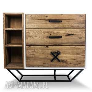 Komoda San-Ki 120 Dąb Biel , nowoczesne, industrial, komoda, loft, stare-drewno