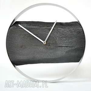 ZEGAR LOFT - DĘBOWY PALONY 40CM, drewno, stal, opalane, shousugiban, loftowe,