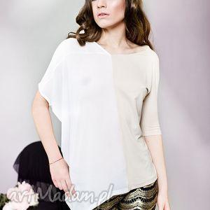 asymetryczna bluzka, asymetryczna, kobieca, sweet, biały