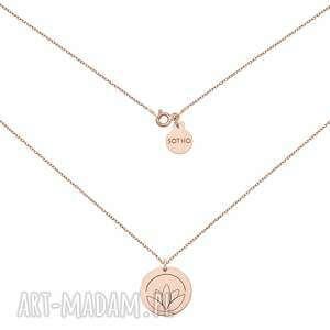 hand made naszyjniki medalion z różowego złota z lotosem
