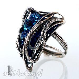 Prezent Osobliwość Blue Alien srebrny pierścień z kwarcem tytanowym, srebro, 925