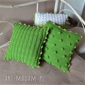dziergana poszewka, poduszka, dom, zielone, wełniane poduszki, wyjątkowy