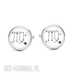 handmade spinki do mankietów z grafiką znak zodiaku panna