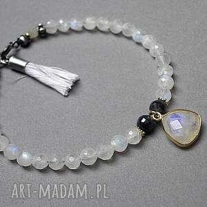 księżycowa -bransoletka , kamieńksiężycowy, srebro, szafiry, chwost bransoletki