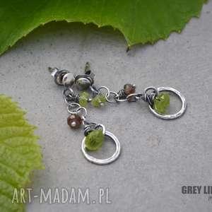 Małe zielone, srebro, peridot, andaluzyt