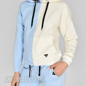 bluza fifty-fifty niebieska/ecri, bluzy, sukienki, koszule, bluzki, spodnie