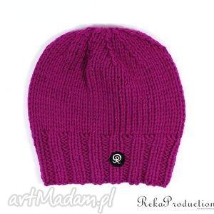 czapka przy głowie - amarantowa - czapka, krótka, dziergana, unisex