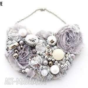 shades of grey naszyjnik handmade - naszyjnik, handmade, szary, srebrny, popielaty