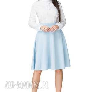 Spódnica rozkloszowana z tkaniny, T202, jasnoniebieski, spódnica,