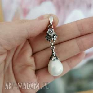 komplet srebrny z perłami seashell liliana a780, perły, kolczyki perły