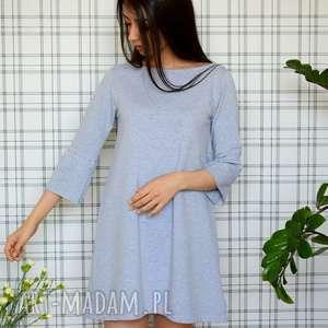 sukienka hippi s/m/l/xl szary melanż, dzianina, eko, falbanka, zwiewna, lekka