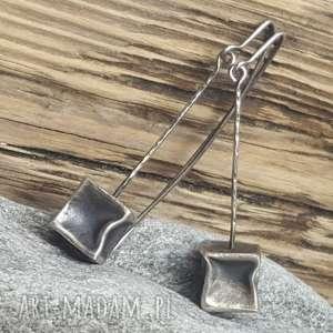 oryginalny prezent, treendy kolczyki srebrne, wiszące, ze srebra