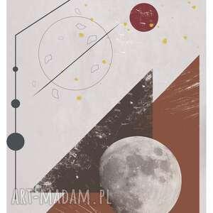 plakat moon landing rust, rdza, miedź, księżyc, geometryczny wzór, unikalne