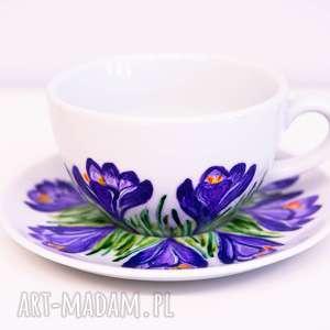 kubki duża filiżanka ręcznie malowana krokusy, ceramika, malowane, krokusy