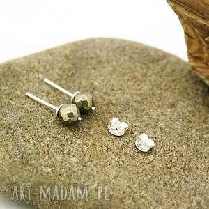 kolczyki srebrne wkrętki piryt, kolczyki, wkrętki, srebro, kulki, fasetowane