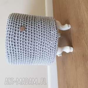 ręcznie wykonane pufy pufa/stolik szydełko szary gotowy 48cmx 38 cm pianka t25