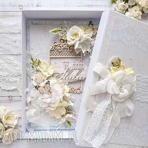Kartka a5 na ślub w pudełku scrapbooking kartki made by kate