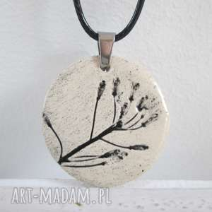 roślinny naszyjnik - ceramiczny, naturalny, na prezent, wisiorek, z roślinką