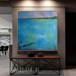 ABSTRAKCJA W TURKUSACH -obraz akrylowy formatu 80/80 cm, abstrakcja, akryl, obraz