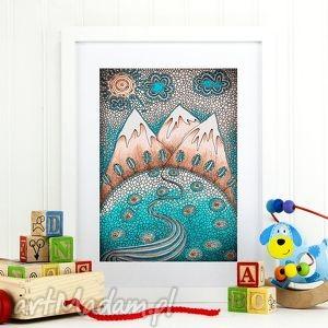 góry a3, dziecko, plakat, ilustracja, góry, widok pokoik dziecka, prezent