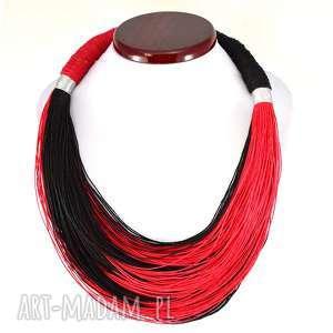 handmade naszyjniki lniane boho czerń i czerwień len