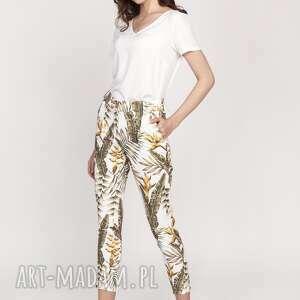 spodnie cygaretki, sd119 liście ecru, spodnie, do pracy, dobiura, rurki