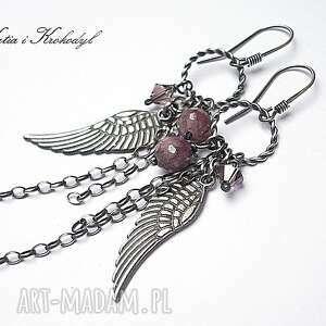 świąteczny prezent, kolczyki ruby angel, rubiny, srebro, swarovski, skrzydełka