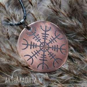 Wisior z trawionej miedzi - Aegishjalmur [003], aegishjalmur, runa, wiking, runy