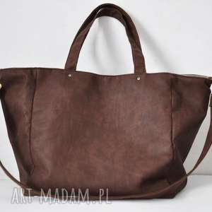na ramię duża torba z rustykalnej ekoskóry, shopper, duża, pojemna, ekoskóra, tote