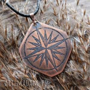 wisior z trawionej miedzi - róża wiatrów 040, kompas, róża, wiatrów
