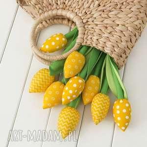 dekoracje tulipany żółty bawełniany bukiet, tulipany, kwiaty z materiału