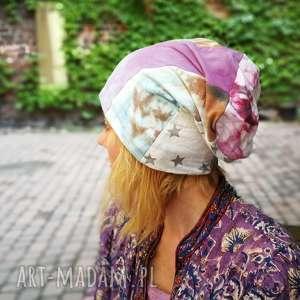 czapka smerfetka długa wzory patchwork, rower, chustka, czapka, bawełna