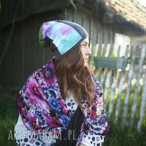 czapka damska dzianina tkanina patchwork, czapka, etno, kolorwa, boho, sport, rower