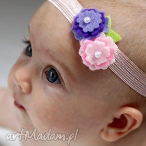 Opaska niemowlęca - dwa kwiatuszki dla dziecka myska filc